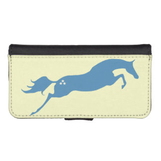Blue Jumping Horse Wallet Phone Case For iPhone SE/5/5s