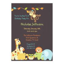 Blue Jungle Safari 5x7 Birthday Party Invitation