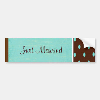 Blue Just Married Bumper Sticker