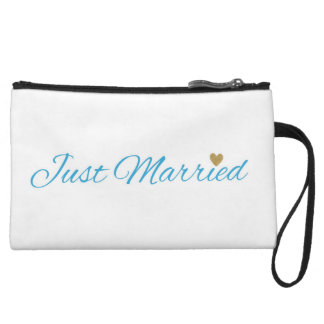 Blue Just Married Gold Sparkle Heart Wristlet Wallet