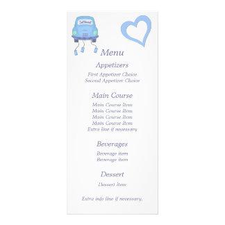 Blue Just Married Wedding Menu Rack Card
