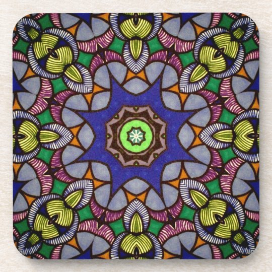 Blue Kaleidoscope Cork Coasters