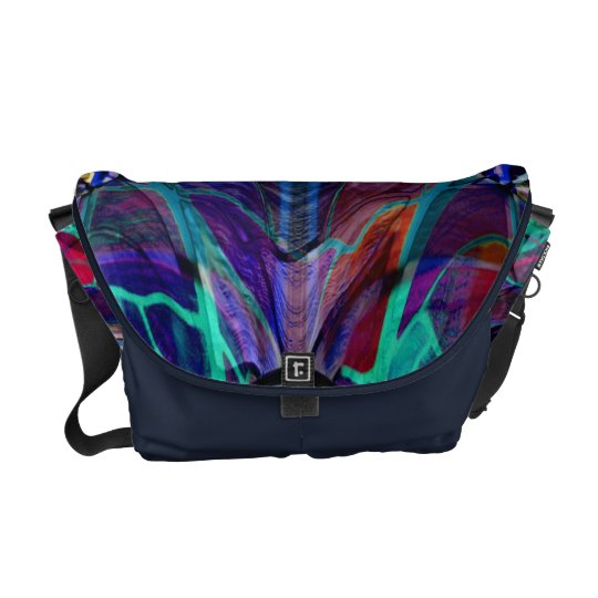 Blue Kaleidoscope Fractal Courier Bag