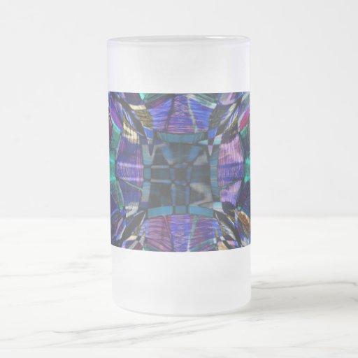 Blue Kaleidoscope Fractal Frosted Glass 16 Oz Frosted Glass Beer Mug