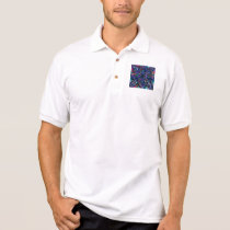 Blue Kaleidoscope Fractal Polo Shirt