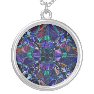 Blue Kaleidoscope Fractal Round Pendant Necklace