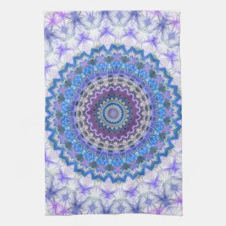 Blue Kaleidoscope Mandala light kitchen tea towel
