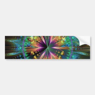 Blue Kaleidoscopic Sun-Burst Bumper Sticker