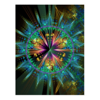 Blue Kaleidoscopic Sun-Burst Postcard