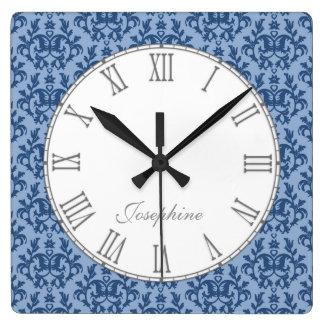 Blue kangaroo paw damask name wall clock