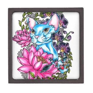 blue kat tattoo keepsake box