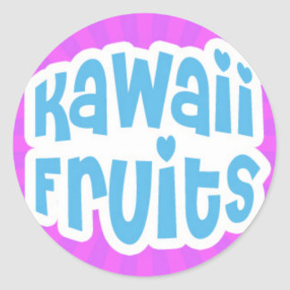 Blue Kawaii Fruits Text on Purple Starburst Classic Round Sticker