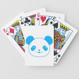 Blue Kawaii Panda Bear Bicycle Playing Cards