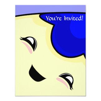 "Blue Kawaii Tickle Monster 4.25"" X 5.5"" Invitation Card"