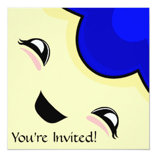 "Blue Kawaii Tickle Monster 5.25"" Square Invitation Card"