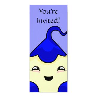 "Blue Kawaii Tickle Monster 4"" X 9.25"" Invitation Card"