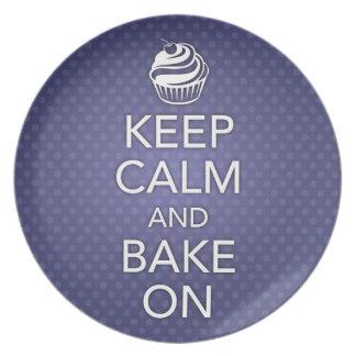 Blue Keep Calm and Bake On Plate
