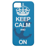 Blue Keep Calm and Carry On Anchor iPhone Case iPhone 5 Cover