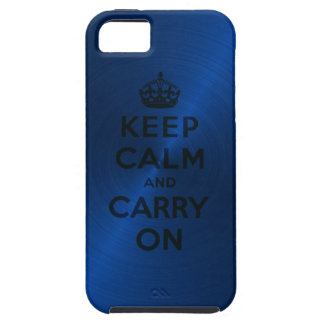 Blue Keep Calm And Carry On iPhone 5 Case