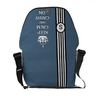 Blue KEEP CALM AND CARRY ON Monogram Racing Stripe Messenger Bag