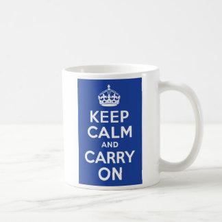 Blue Keep Calm and Carry On Coffee Mugs