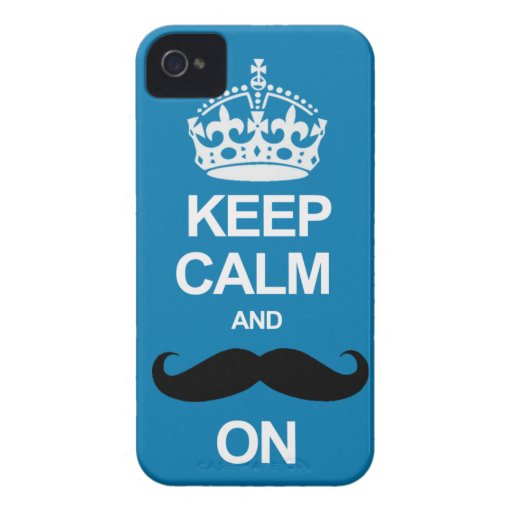 Blue Keep Calm and Carry On Mustache iPhone Case iPhone 4 Cover