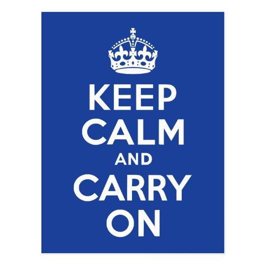 Blue Keep Calm and Carry On Postcard