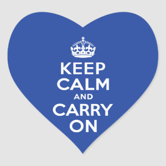 Blue Keep Calm and Carry On Heart Stickers