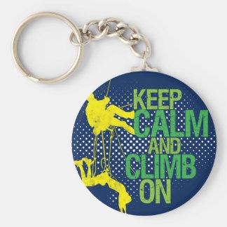 Blue Keep Calm and Climb On Rock Climbing Keychain