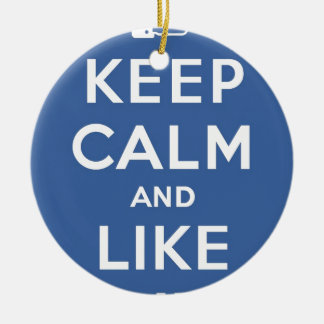 Blue Keep Calm And Like Me Double-Sided Ceramic Round Christmas Ornament