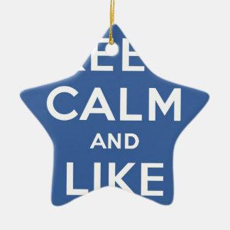 Blue Keep Calm And Like Me Double-Sided Star Ceramic Christmas Ornament