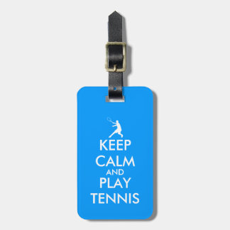 Blue keep calm and play tennis travel luggage tag
