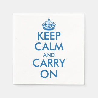 Blue Keep calm and your text paper napkins | Edit