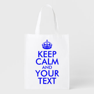 Blue Keep Calm and Your Text Reusable Grocery Bag