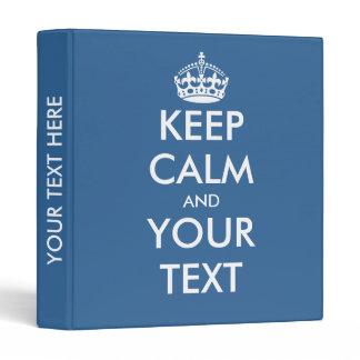 Blue keep calm binder | Custom office supplies