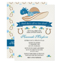 Blue Kentucky Derby Themed Hat Bridal Shower Invitation