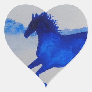 Blue Kentucky Horse running in the mist Heart Sticker