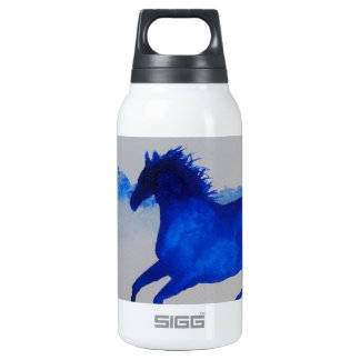Blue Kentucky Horse running in the mist Insulated Water Bottle