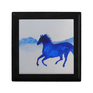 Blue Kentucky Horse running in the mist Jewelry Box