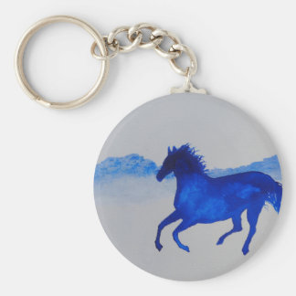 Blue Kentucky Horse running in the mist Key Chains