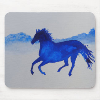 Blue Kentucky Horse running in the mist Mouse Pad
