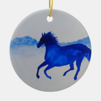 Blue Kentucky Horse running in the mist Double-Sided Ceramic Round Christmas Ornament