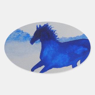 Blue Kentucky Horse running in the mist Oval Sticker