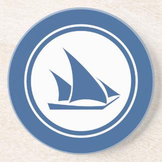 Blue Ketch Sailboat Nautical sandstone coaster