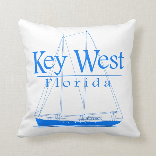 Blue Key West Sailing Throw Pillow