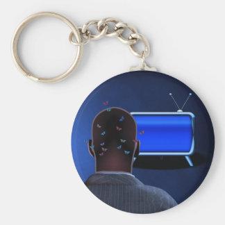 Blue Basic Round Button Keychain