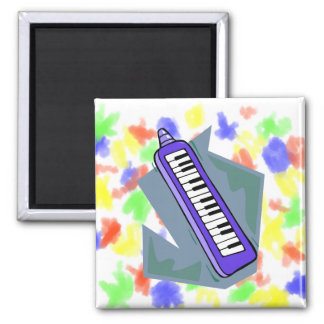 Blue Keytar portable 80s keyboard piano graphic 2 Inch Square Magnet