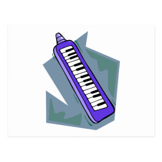 Blue Keytar portable 80s keyboard piano graphic Post Cards