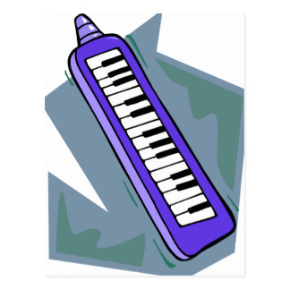 Blue Keytar portable 80s keyboard piano graphic Postcard