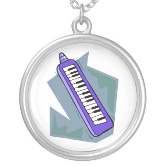 Blue Keytar portable 80s keyboard piano graphic Silver Plated Necklace